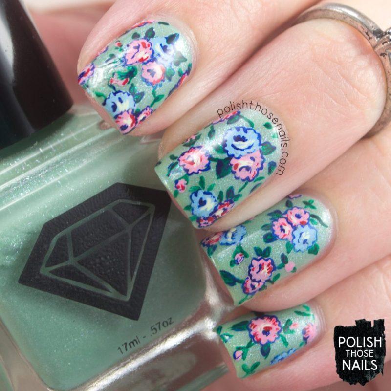 nails, nail art, nail polish, roses, 1920s, flowers, floral, polish those nails, indie polish