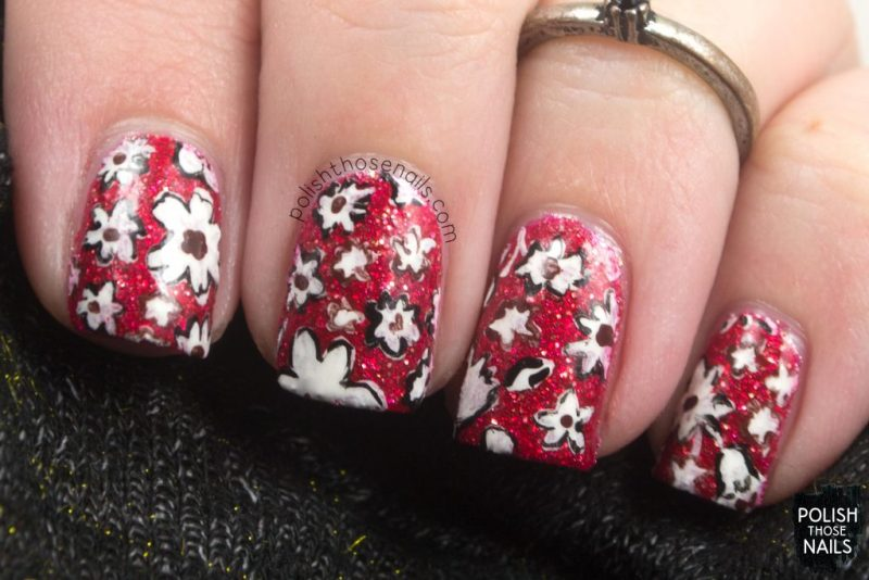 nails, nail art, nail polish, floral, flowers, 1970s, red, polish those nails