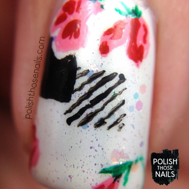 nails, nail art, nail polish, floral, flowers, 1940s, polish those nails, indie polish, macro