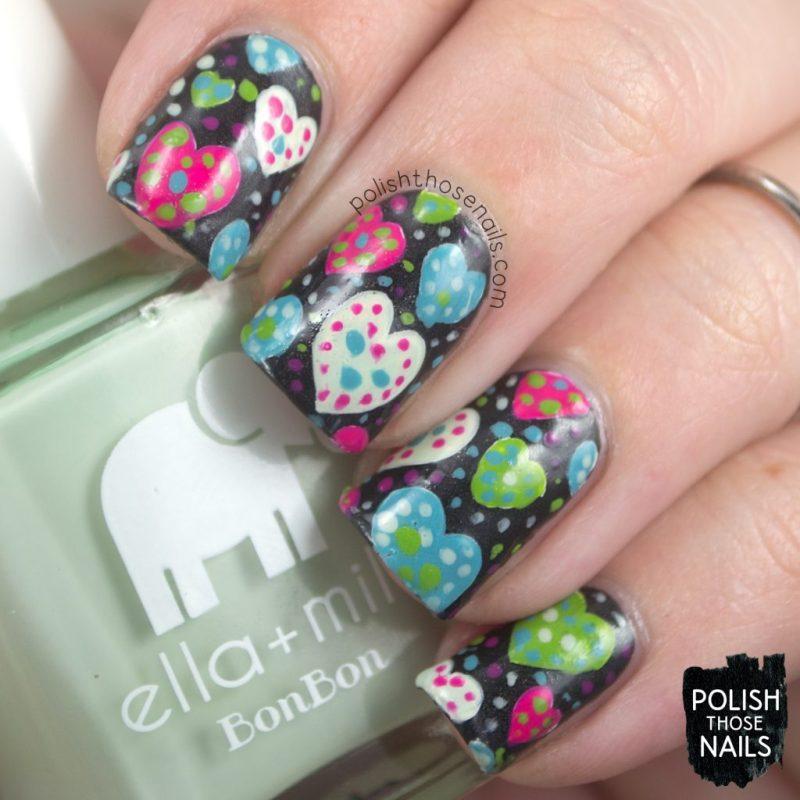 nails, nail art, nail polish, hearts, polish those nails, polka dots