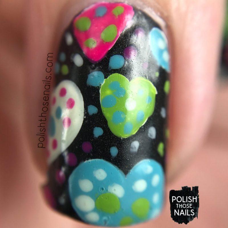 nails, nail art, nail polish, hearts, polish those nails, polka dots, macro