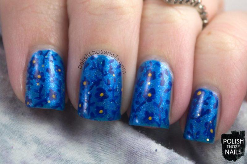 nails, nail art, nail polish, flowers, floral, blue, shimmer, indie polish, polish those nails