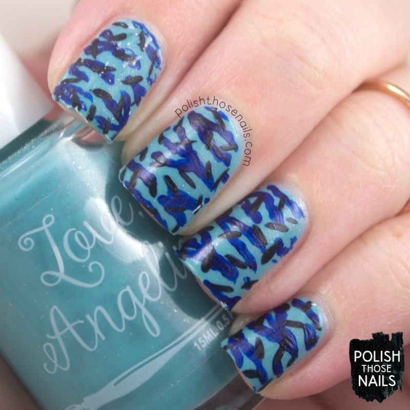 nail art, pattern, love angeline, indie polish, polish those nails, love one another, blue, flakies,