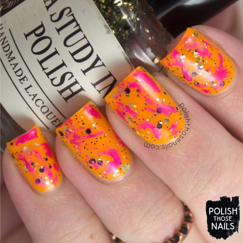 nails, nail art, nail polish, bright, neon, orange, pink, glitter, polish those nails