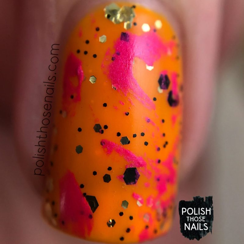 nails, nail art, nail polish, bright, neon, orange, pink, glitter, polish those nails, macro