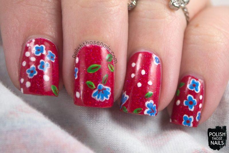 nails, nail art, nail polish, red, floral, polish those nails, indie polish