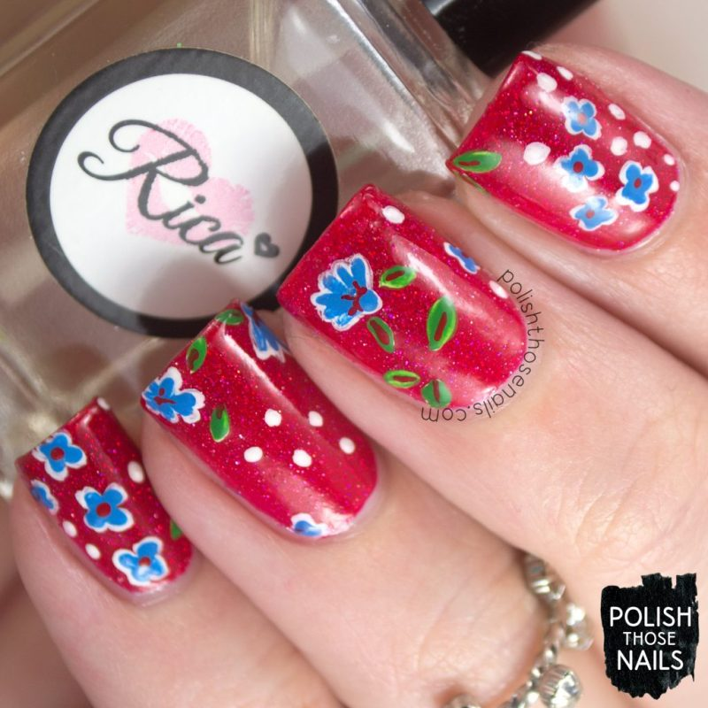 nails, nail art, nail polish, red, floral, polish those nails, indie polish