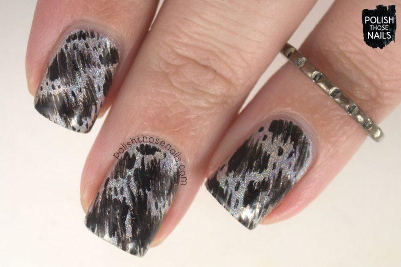 indie polish, nails, nail art, nail polish, black, silver, holo, don deeva, polish those nails, abstract,