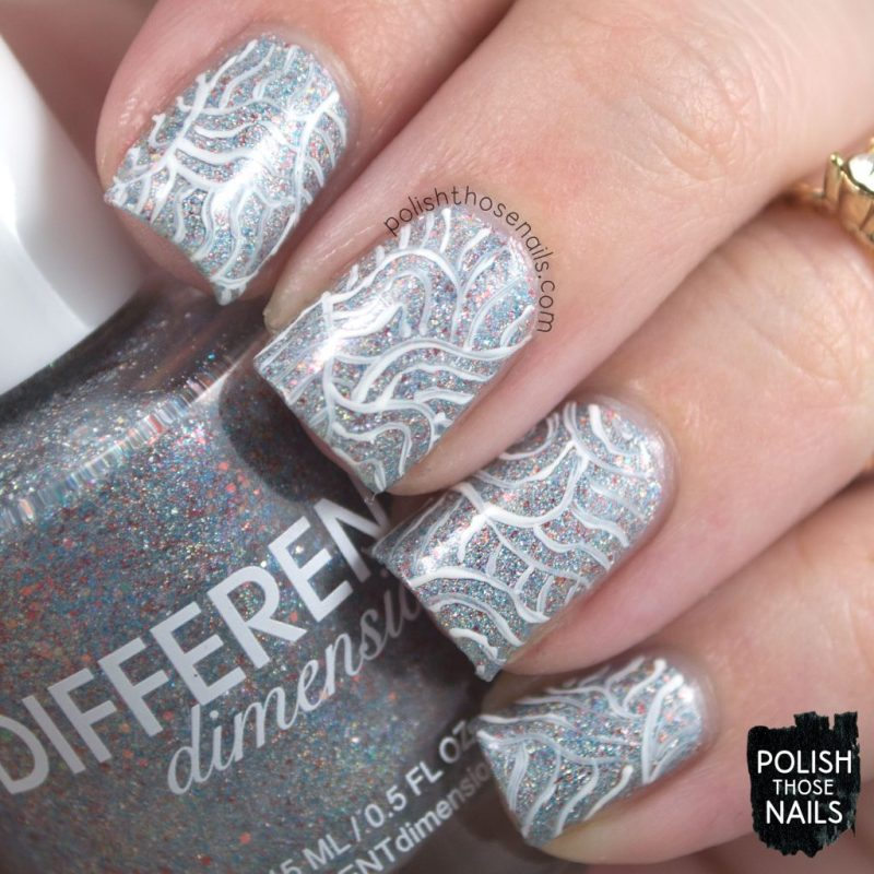 nail art, pattern, heaven from hell, silver, nails, nail polish, indie polish, different dimension, polish those nails, glitter