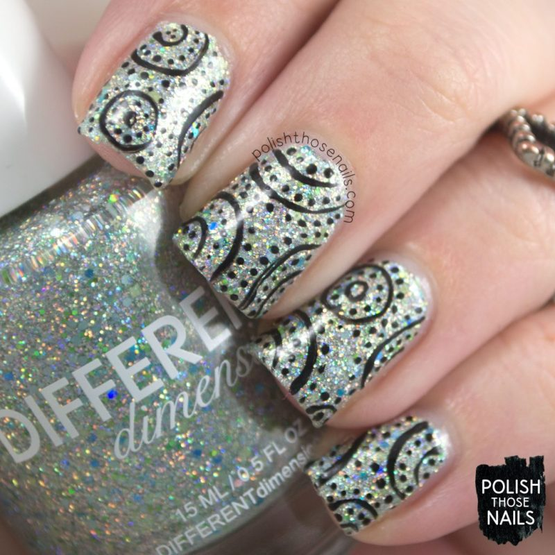 nail art, pattern, pier pressure, nails, nail polish, indie polish, different dimension, polish those nails, glitter