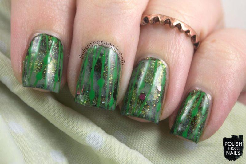 nails, nail art, nail polish, green, indie polish, lines, polish those nails,