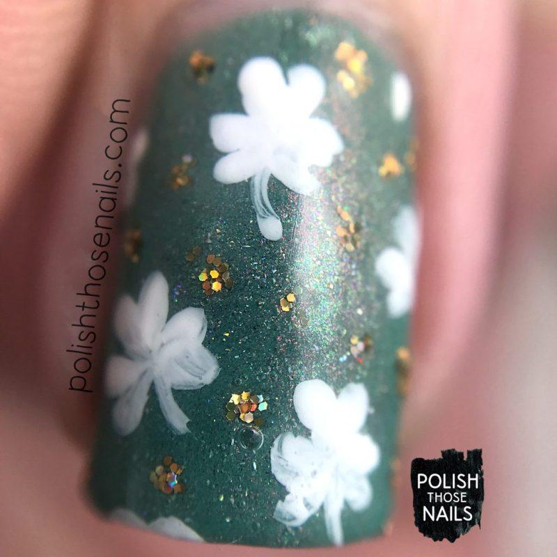 nails, nail art, shamrock, green, gold, indie polish, polish those nails, tonic nail polish, macro