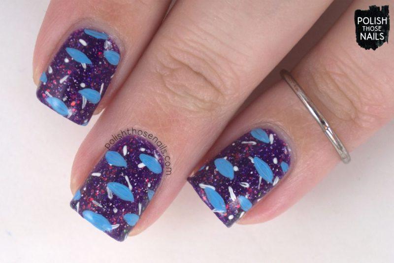 butterfly nebula, purple, nails, nail polish, indie polish, different dimension, polish those nails, glitter jelly, nail art, pattern