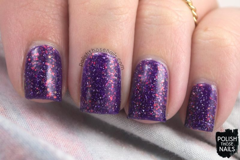 butterfly nebula, purple, nails, nail polish, indie polish, different dimension, polish those nails, glitter jelly, swatch