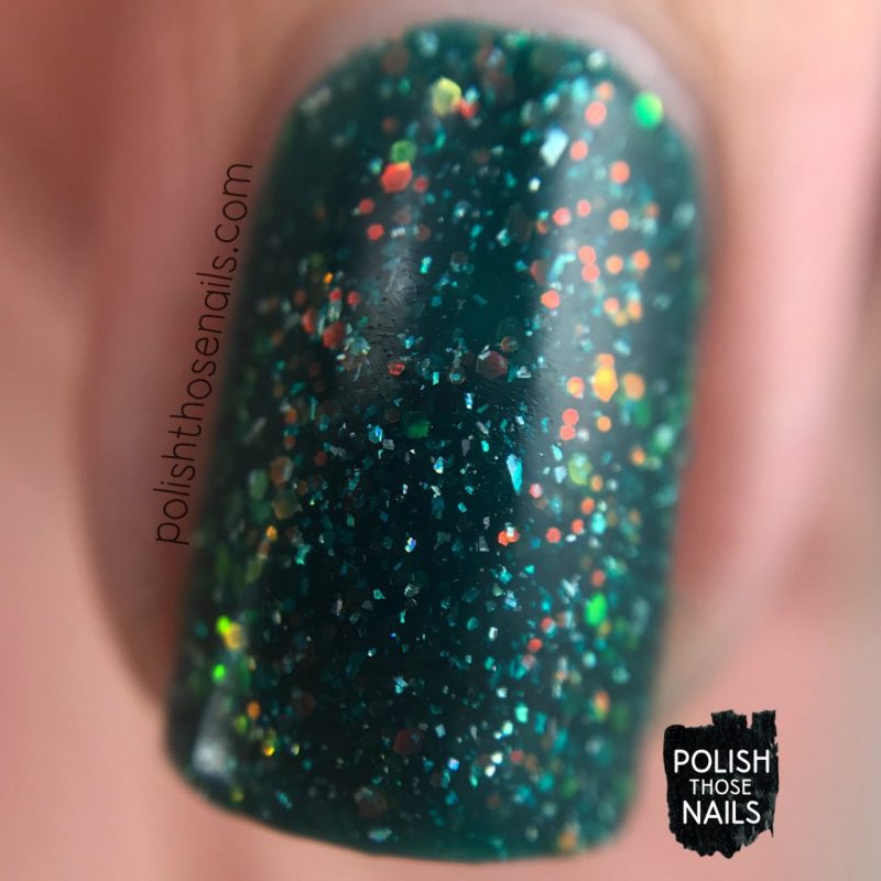 helix nebula, teal, nails, nail polish, indie polish, different dimension, polish those nails, glitter jelly, swatch, macro