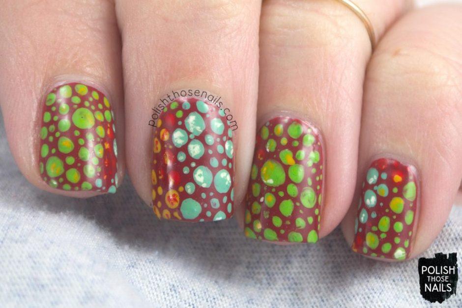 nails, nail art, nail polish, kl polish, polish those nails, polka dots, rainforest, iguana