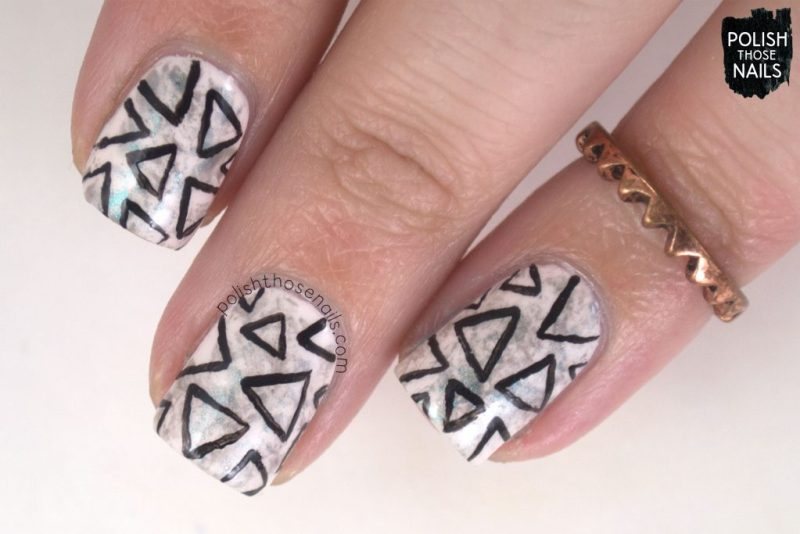 pink, triangles, pattern, saran wrap, nail art, nails, nail polish, sally hansen, press sample, polish those nails