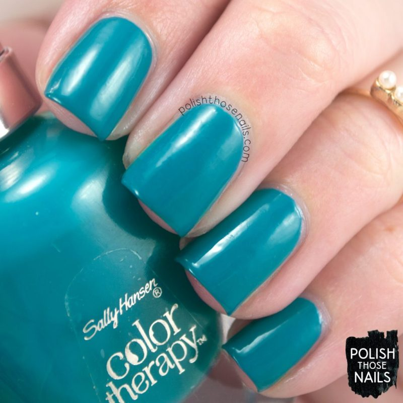 teal good, creme, teal, color therapy, swatch, nails, nail polish, sally hansen, press sample, polish those nails