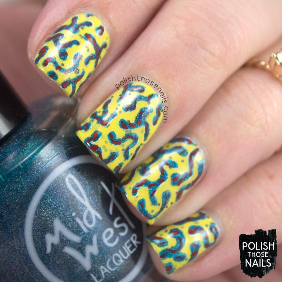 nails, nail art, nail polish, yellow, polish those nails, indie polish, squiggles, pattern