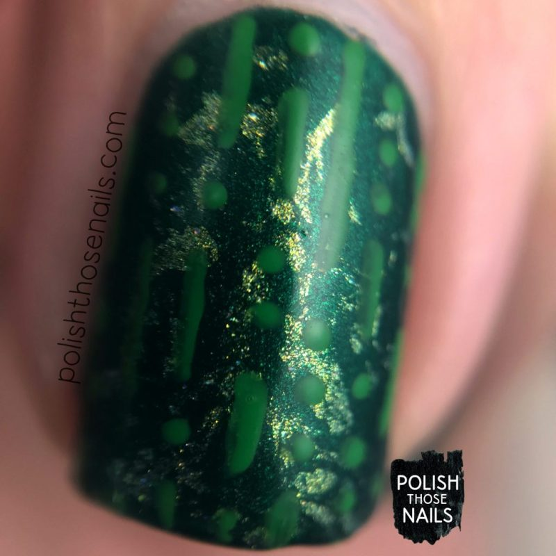 nails, nail art, nail polish, green, tonic nail polish, indie polish, polish those nails, macro