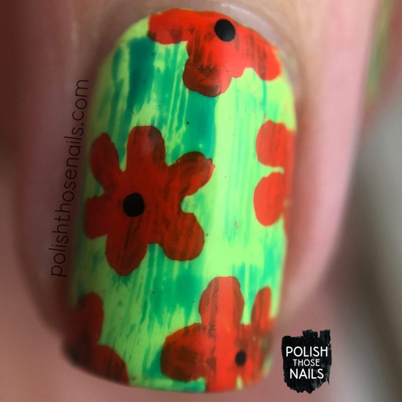 nails, nail art, nail polish, cartoon, florals, flower, polish those nails, distressed, macro