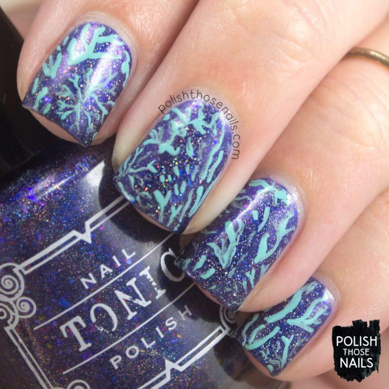 nails, nail art, nail polish, coral, indie polish, glitter, polish those nails