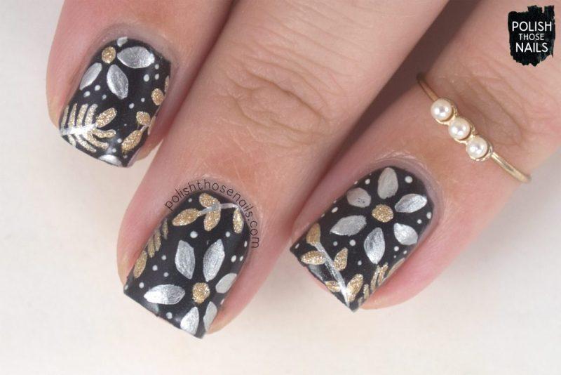 nails, nail art, nail polish, metallic , florals, flowers, polish those nails