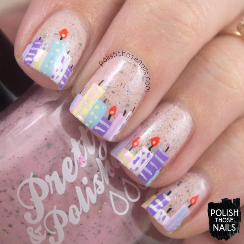nails, nail art, nail polish, birthday candles, pink, flakies, indie polish, polish those nails