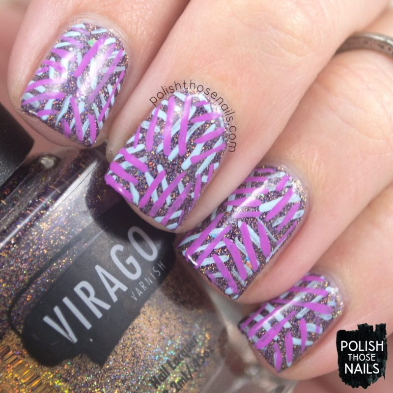 nails, nail art, nail polish, purple, indie polish, polish those nails, line art, pattern