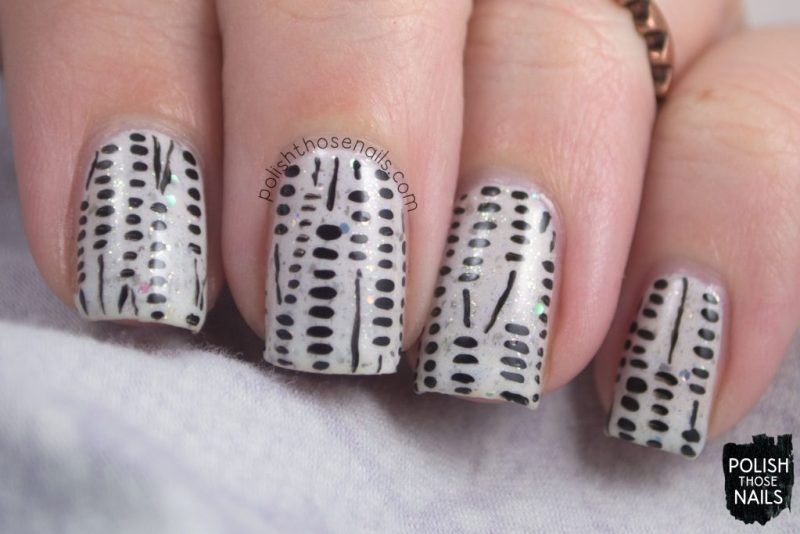 nails, nail art, nail polish, black & white, indie polish, polish those nails, pattern