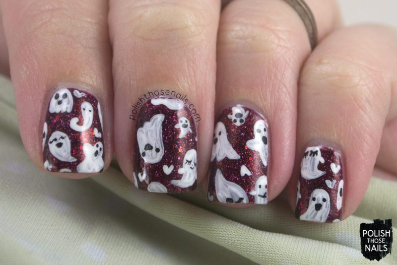 nails, nail art, nail polish, ghosts, halloween, polish those nails, indie polish