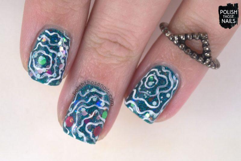 nails, nail art, nail polish, glitter, teal, polish those nails, pattern