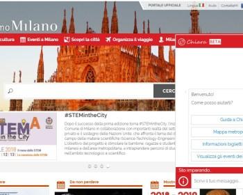 Il portale Turismo del Comune di Milano, a destra la finestra di Chiara
