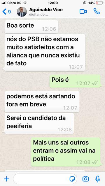 00 2 - RACHA: Vice rompe com prefeito em Cabedelo e conversas no Whatsapp vazam