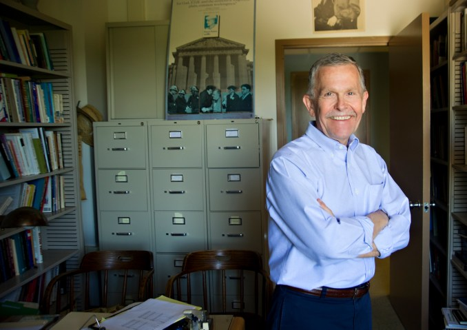 Robert Huckfeldt photographed in his office in the Social Sciences and Humanities building on the UC Davis campus. Huckfeldt is the DIrector of the Institute of Governmental Affairs at the UC Center and Political Science Faculty member at UC Davis.