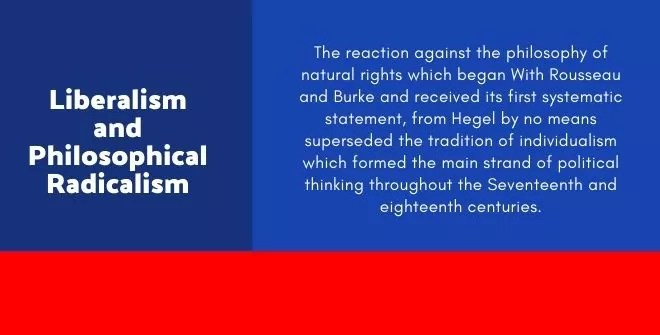 Liberalism and Philosophical Radicalism