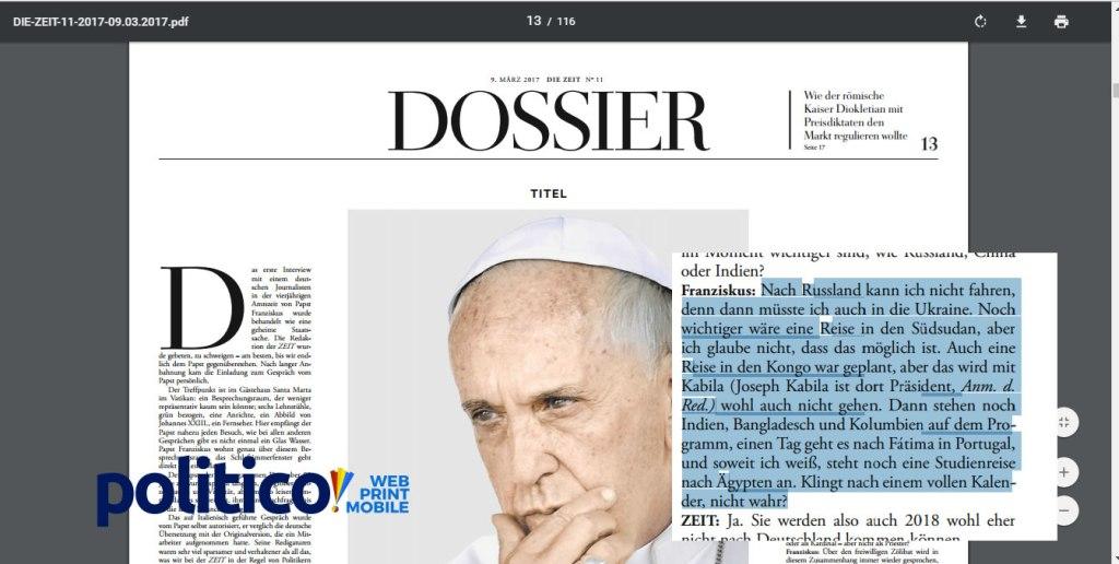 Ce qu'a réellement dit le Pape François a propos de l'annulation sa visite en RDC