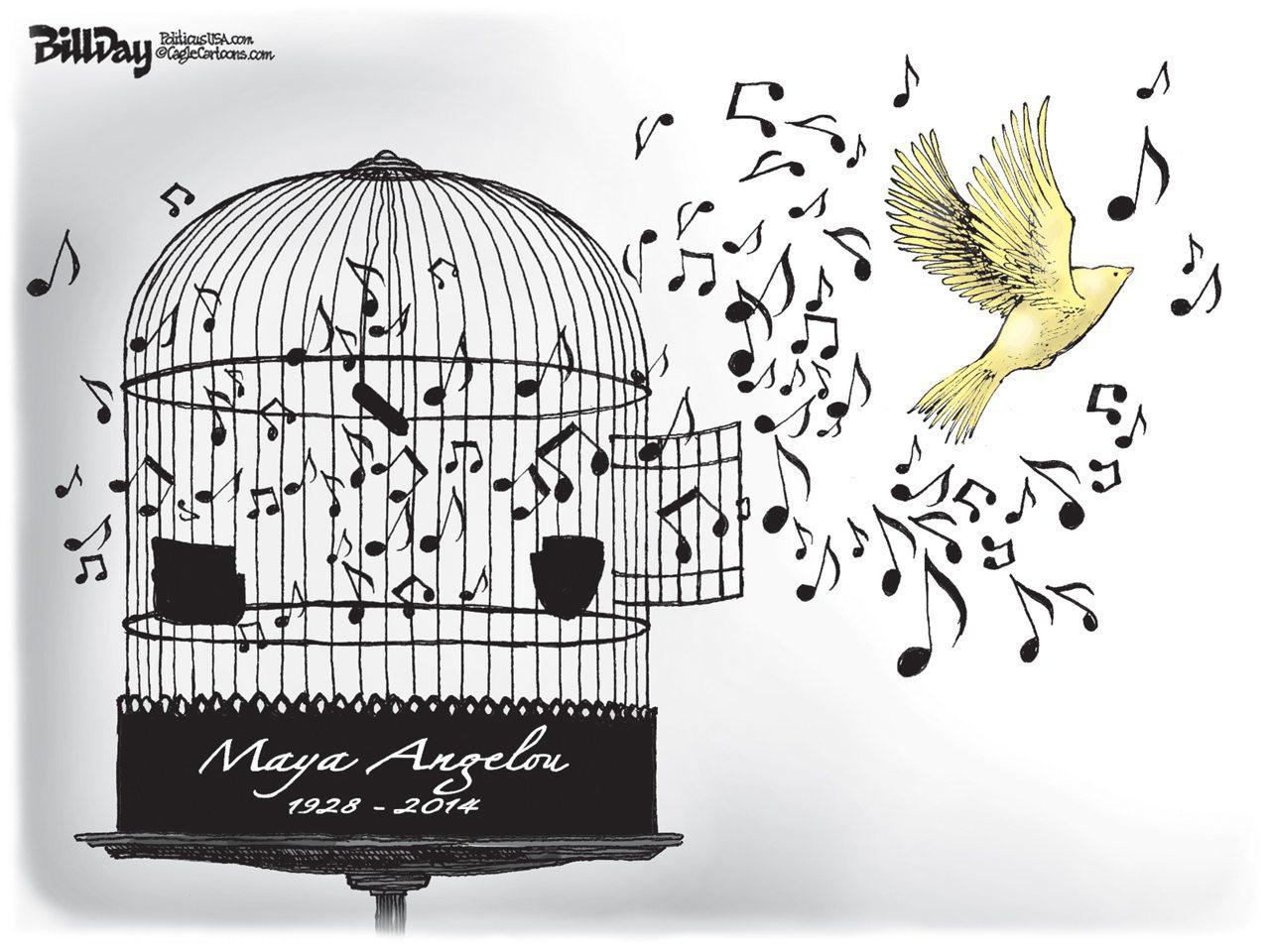 Editorial Cartoon Caged Bird Sings