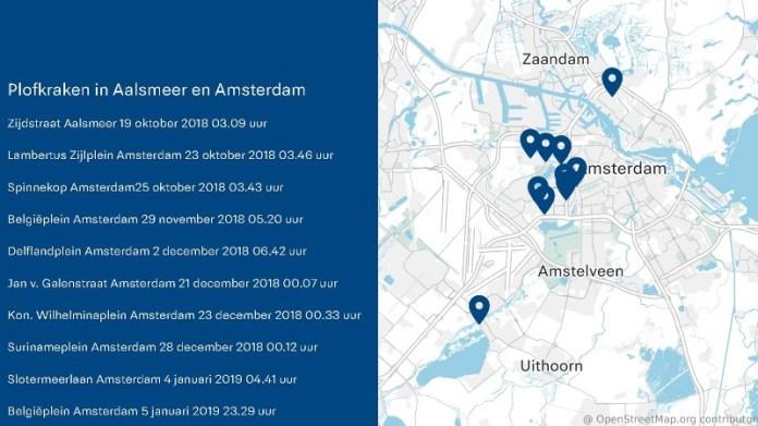 Plofkraken Aalsmeer en Amsterdam 2018/2019