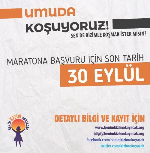 """İstanbul Maratonu'nda""""Benim Kızım Okuyacak"""" kampanyası"""