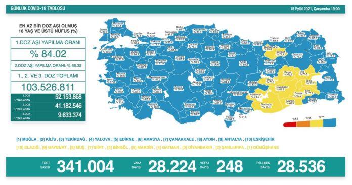 Türkiye'de koronavirüs nedeniyle son 24 saatte 248 kişi hayatını kaybetti, tespit edilen vaka sayısı 28 bin 224 oldu