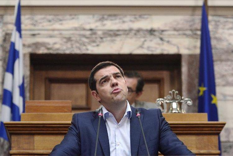 Le Premier ministre grec, Aléxis Tsípras, devant le Parlement, le 16 juin. (Photo Louisa Gouliamaki. AFP)