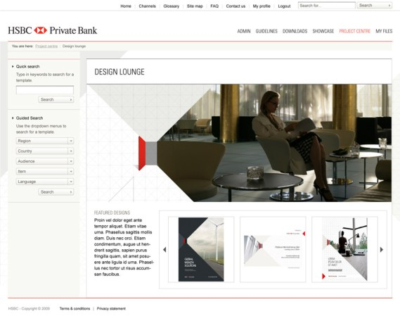 "Landing page for HSBC Private Bank ""Design Lounge"""