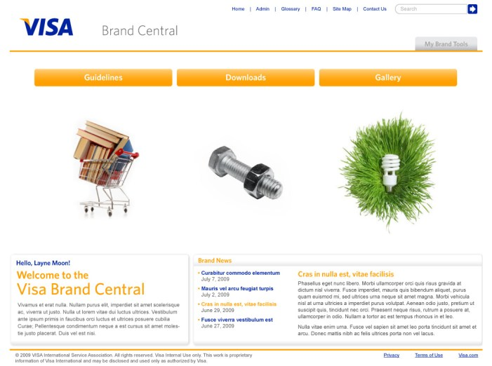Visa Brand Central Main screen