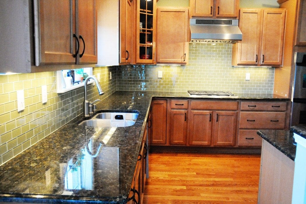 Green Glass Tile Kitchen Backsplash The Polkadot Chair
