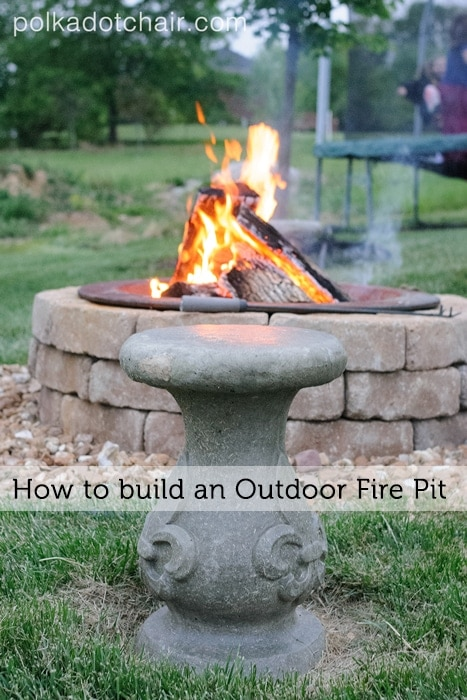 diy outdoor firepit seating on polka