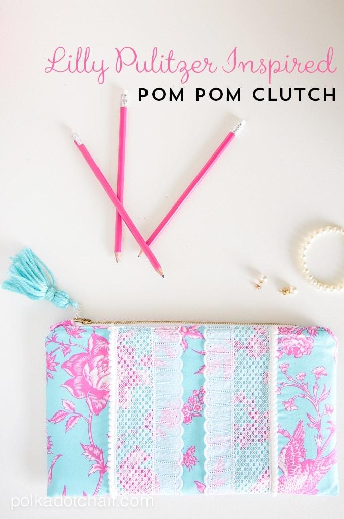 lilly-pulitzer-inspired-pom-pom-clutch