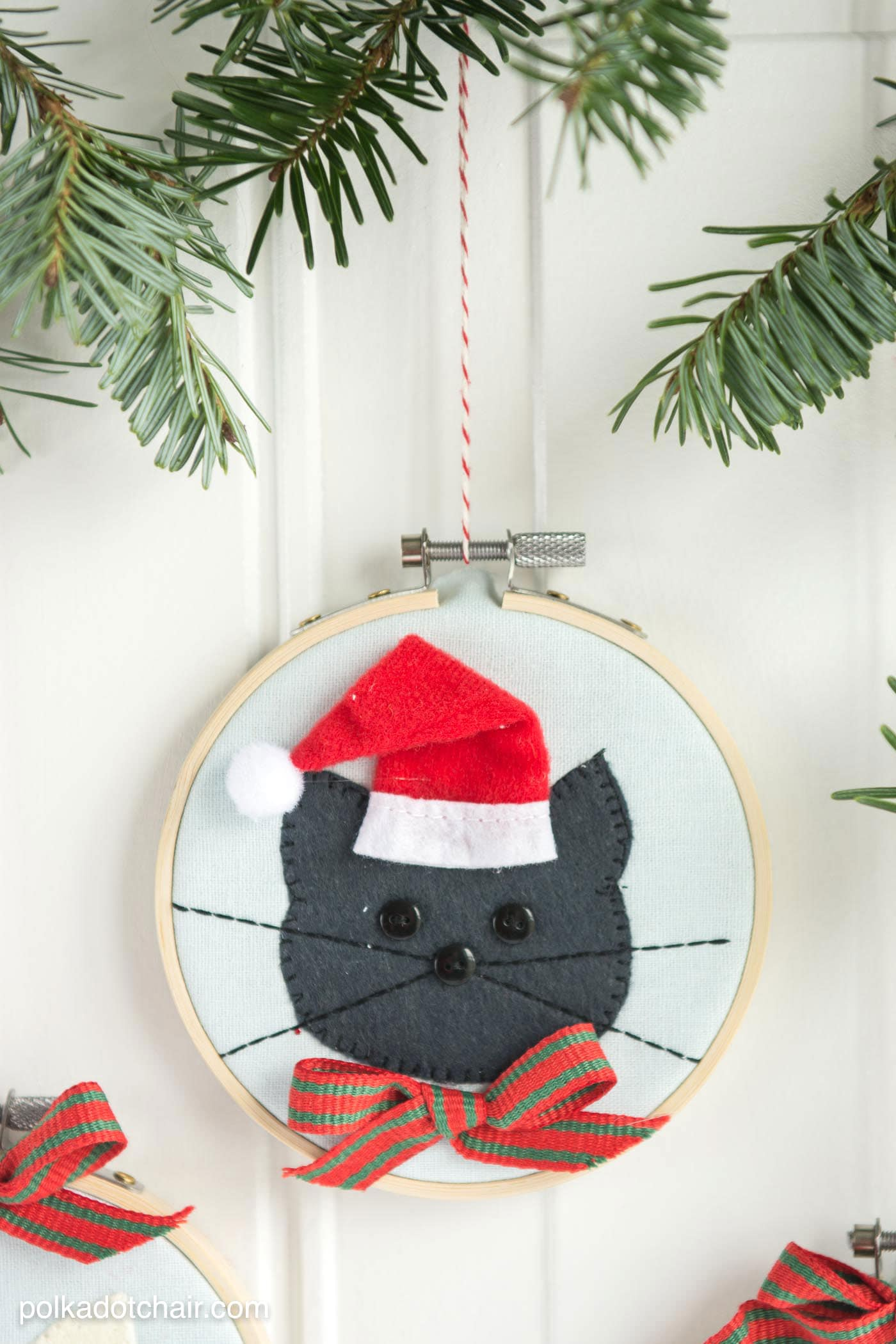 Cat Embroidery Hoop Christmas Ornaments The Polka Dot Chair