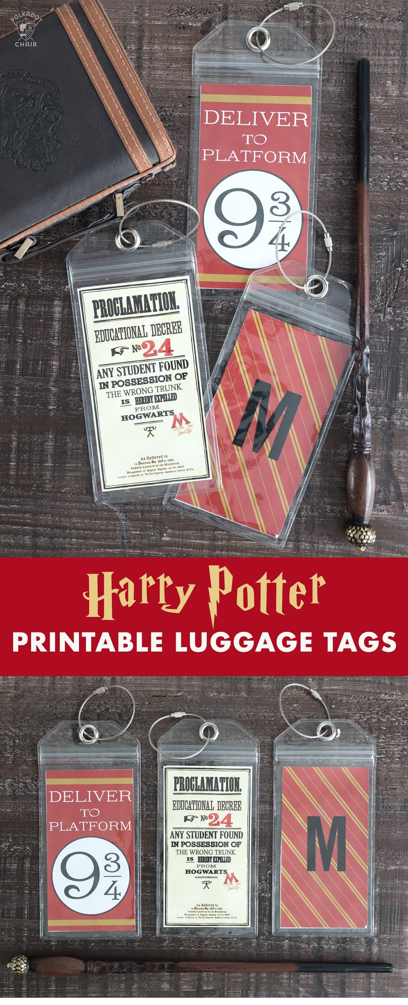 Harry Potter Printable Luggage Tags