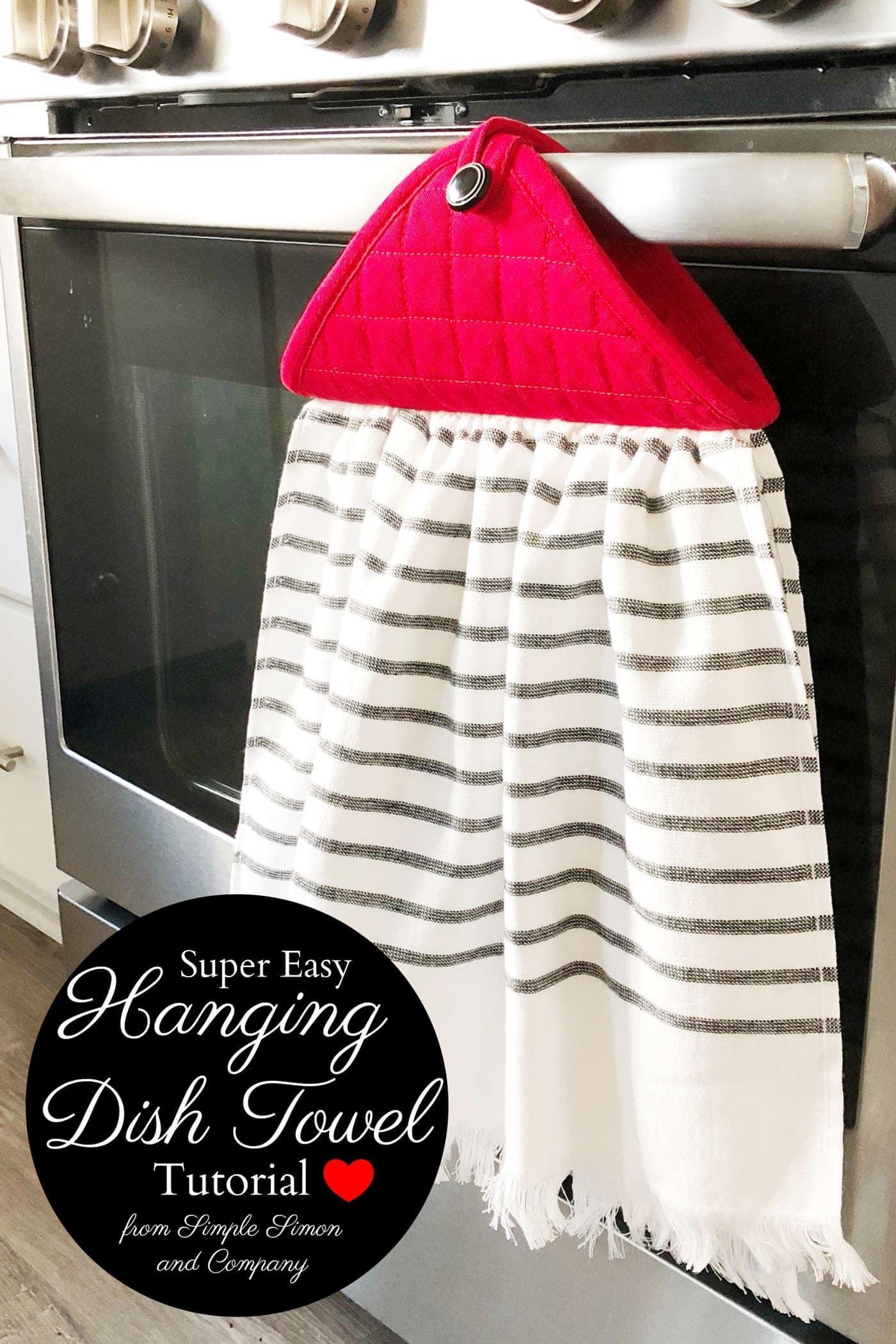 Farmhouse Style Hanging Kitchen Towel Tutorial The Polka